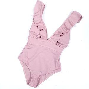 Ruffle Trim Mauve Pink One Piece Swimsuit